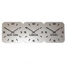 Large Zilver Acryl tijdzoneklok 3 tijdzones