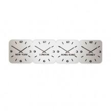Large Zilver Acryl tijdzoneklok 4 tijdzones