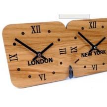 Eiken tijdzoneklok, vrijstaand, 4 tijdzones
