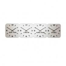 Zilver acryl tijdzoneklok, 4 tijdzones