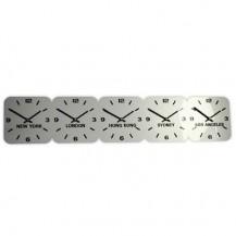 Zilver acryl tijdzoneklok, 5 tijdzones